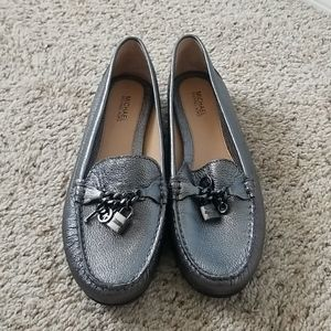 MICHAEL by Michael Kors Leather Silver Loafers